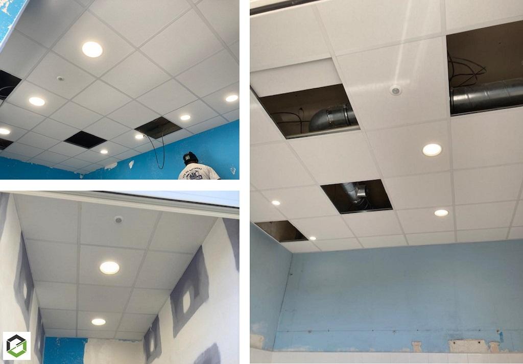 Installation de plafonnier par spots LED