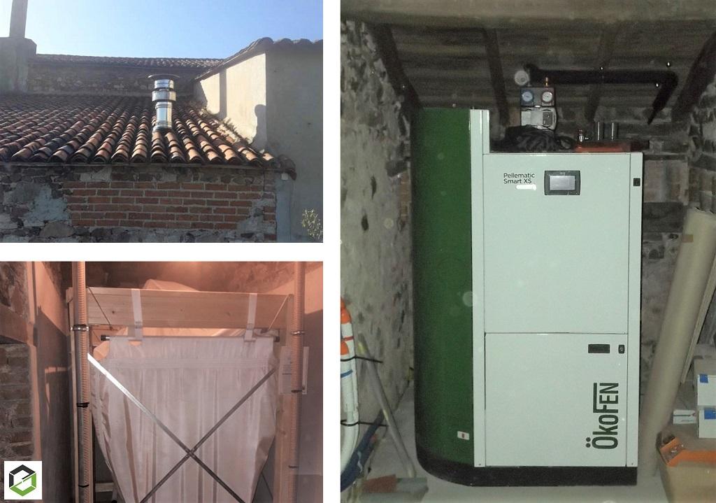 Installation d'une chaudière granulés de bois Pellets à condensation à chargement automatique OKOFEN Smart XS