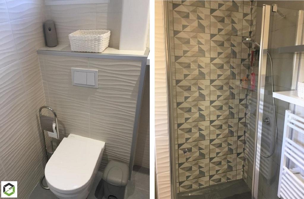 Pose meuble, radiateur sèche serviette et WC dans salle de bain