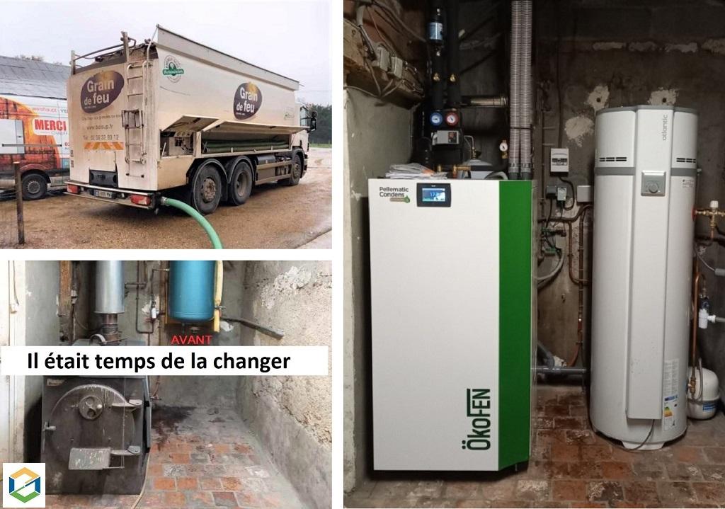 Installation d'une chaudière à granulés biomasse OKOFEN et chauffe eau thermodynamique ATLANTIC-Loiret (45)