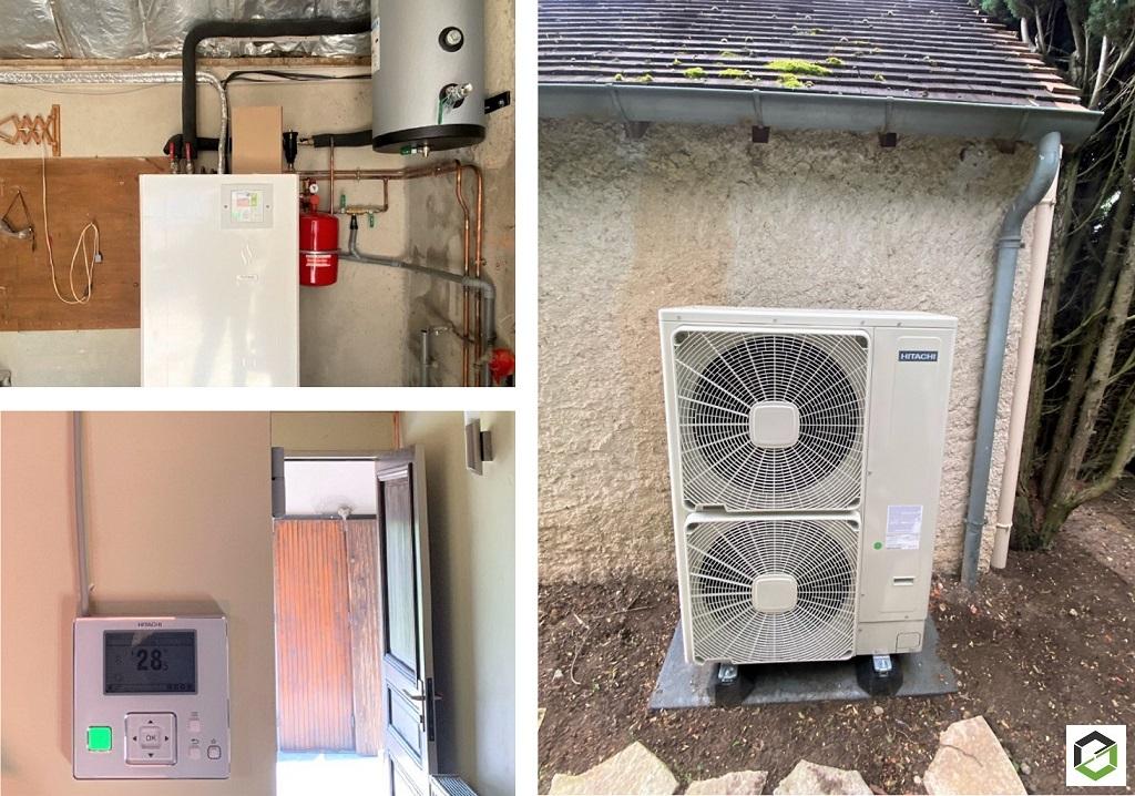Installation d'une pompe à chaleur AIR/EAU HITACHI