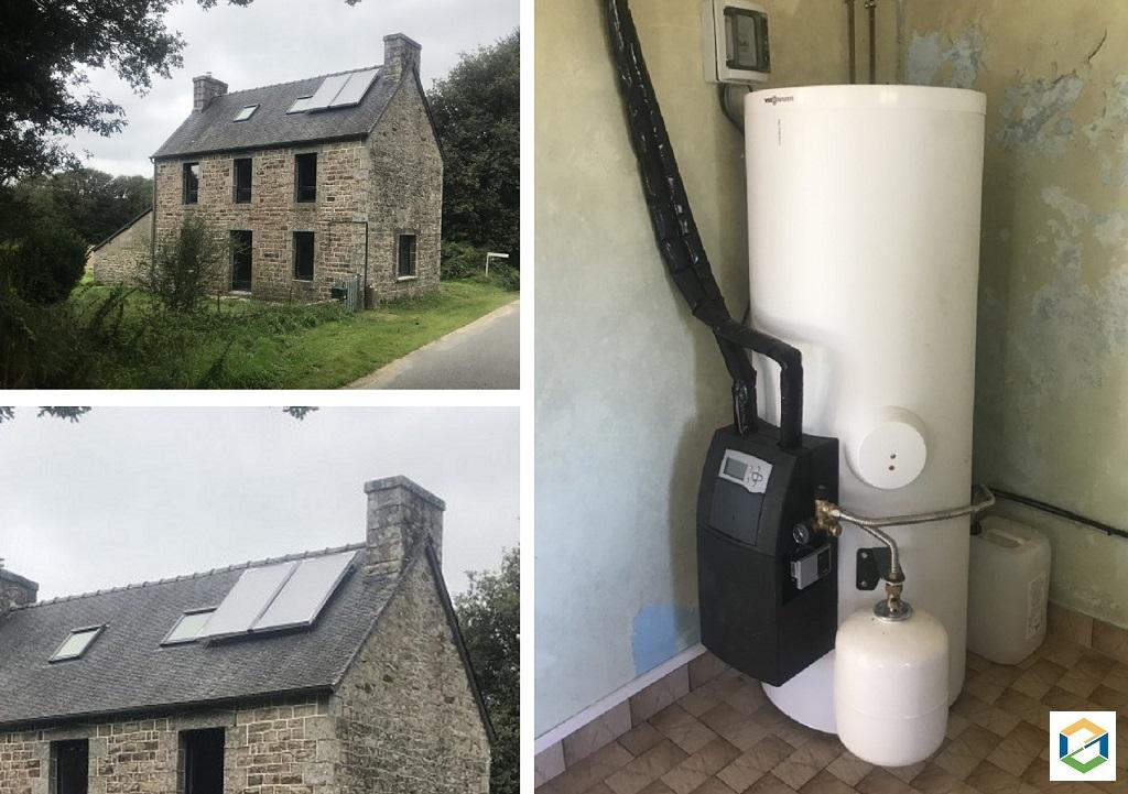 Installation d'un Chauffe Eau Solaire Individuel (CESI) avec appoint électrique en Centre Bretagne