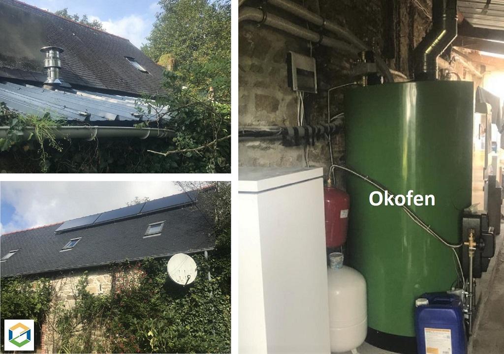 Installation d'une chaudière à granulés de bois ÖkoFen à chargement manuel couplée à des capteurs solaires