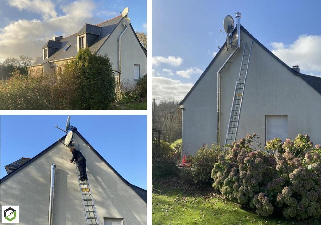 RGE QualiBois - Création d'un conduit de fumée isolé Jérémias pour le raccordement à une chaudière à pellets ÖkoFen en Centre Bretagne-Morbihan (56)