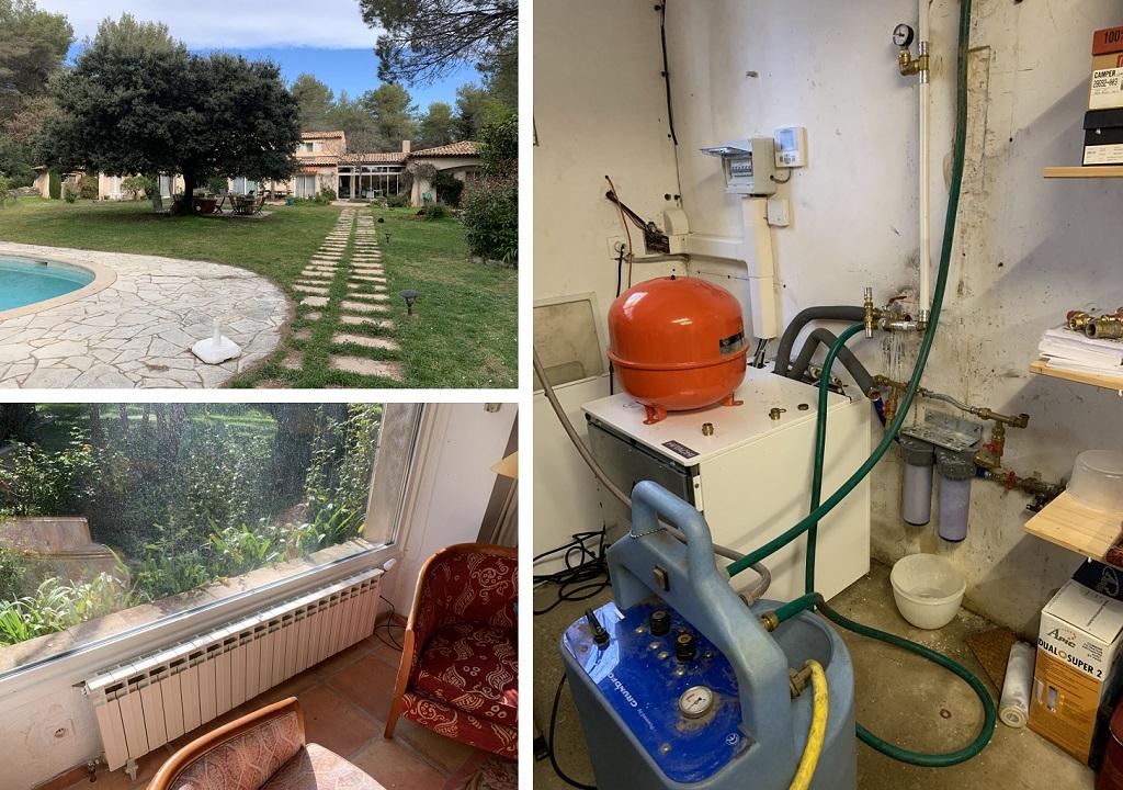 Nettoyage de radiateurs et reprise des défauts sur une installation de pompe a chaleur Hitachi dans une vieille maison à Roquefort les Pins alpes maritimes-Alpes Maritimes (06)