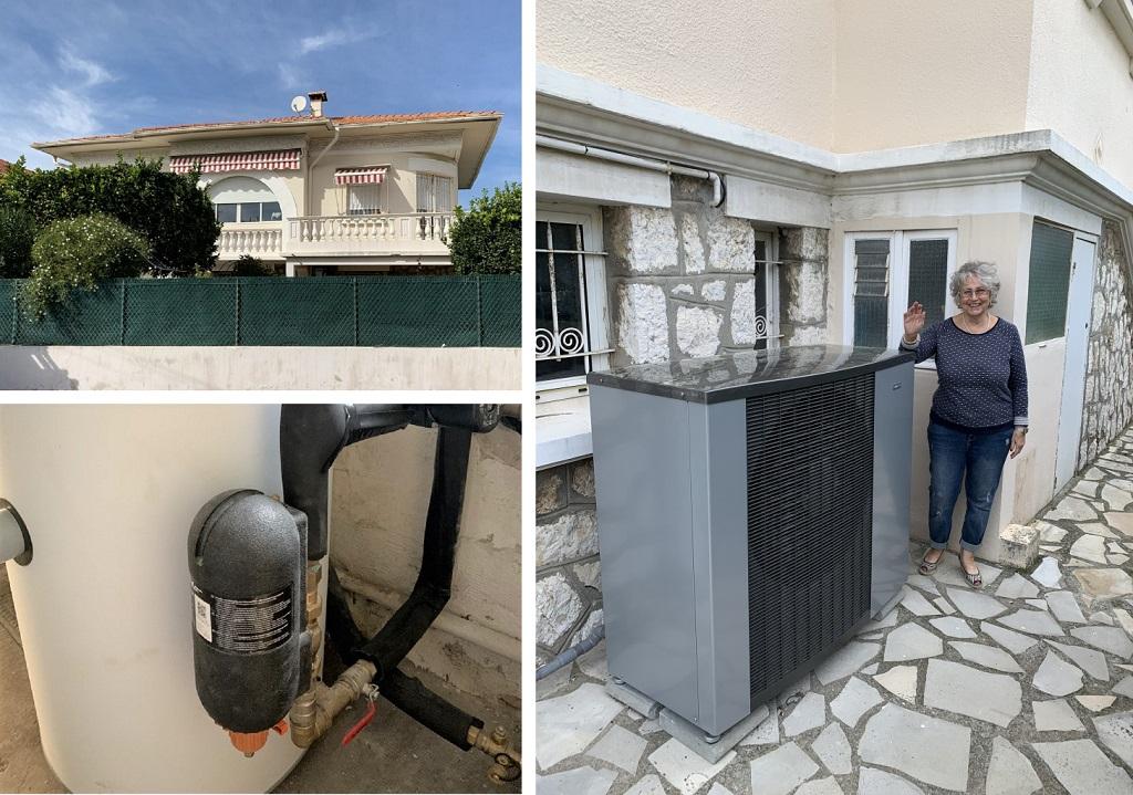 Pose d'un filtre Judo Heifi-top sur circuit de radiateurs en protection d'une pompe à chaleur Nibe-Alpes Maritimes (06)