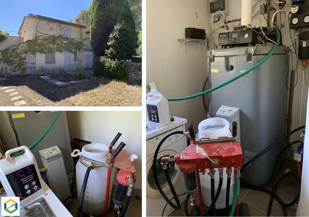 Désembouage plancher chauffant et radiateurs à l'aide d'une pompe Coroxyl-Alpes Maritimes (06)