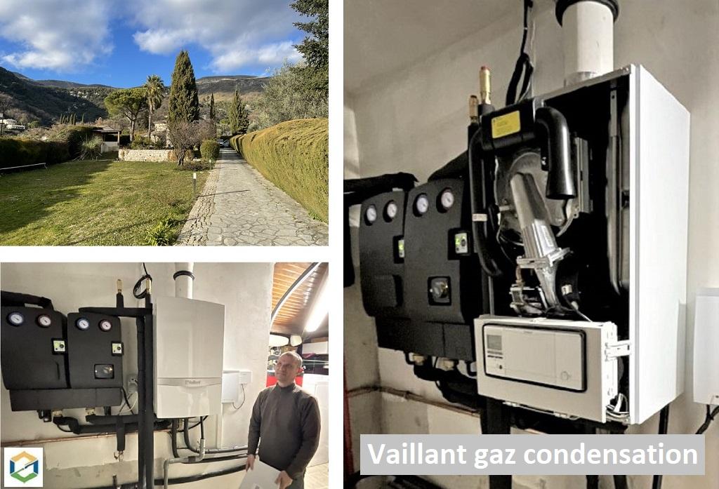 Pose d'une chaudière Vaillant ecoTEC plus systèmes gaz condensation en remplacement-Alpes Maritimes (06)