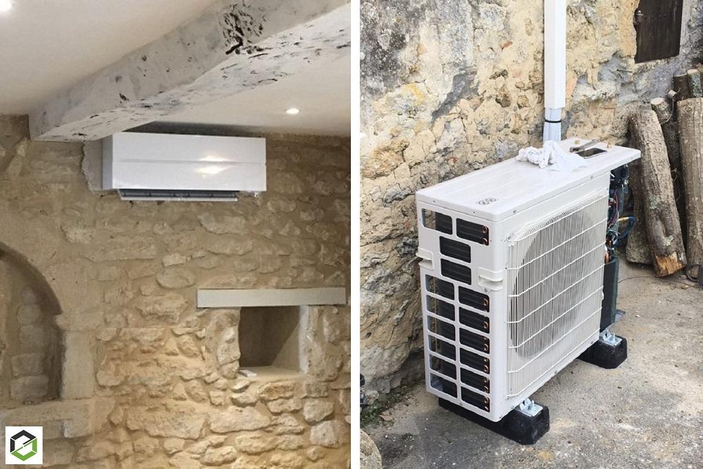 Installation pompe à chaleur AIR/AIR (clim réversible) MITSUBISHI ELECTRIC - Installateur RGE QualiPAC
