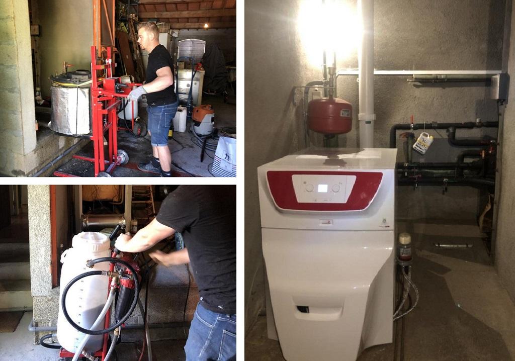 Désembouage et remplacement d'une chaudière fuel en relève de pompe à chaleur PAC à Luynes .