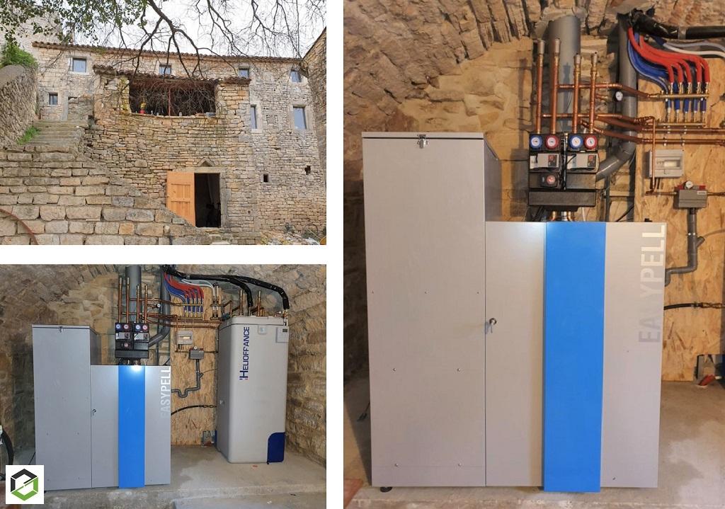 Installation d'une chaudière à granulés de la marque EASYPELL, modèle EP0001