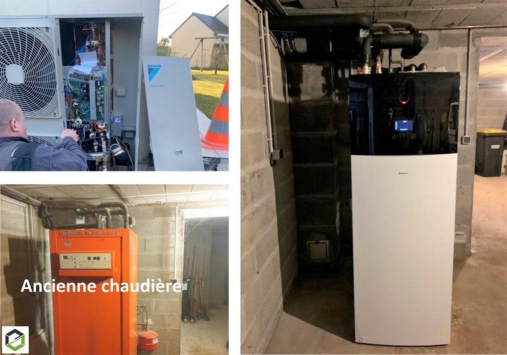 Installation d'une Pompe à chaleur air /eau en remplacement d'une chaudière fioul -Maine et Loire (49)