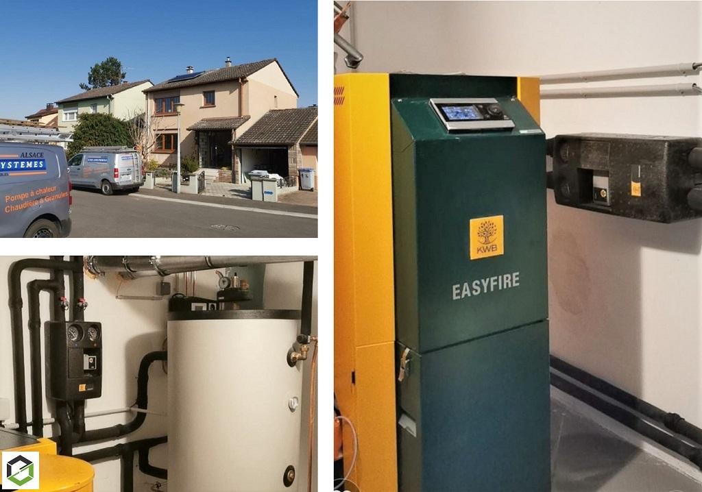 Installation chaudière à granulés KWB et panneaux solaires comme chauffe-eau solaire (CESI)