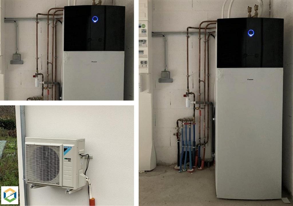 Installation d'une pompe à chaleur AIR/EAU DAIKIN dans maison neuve