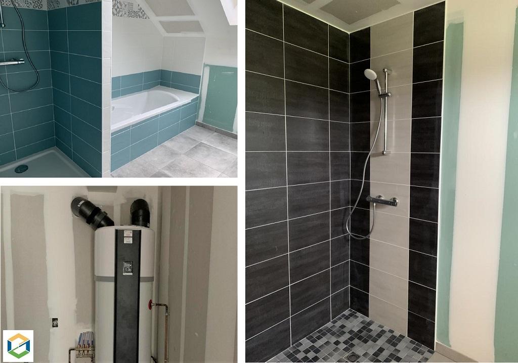 Installation d'un chauffe eau thermodynamique, création d'une salle de Bains et pose radiateurs électrique dans maison individuelle