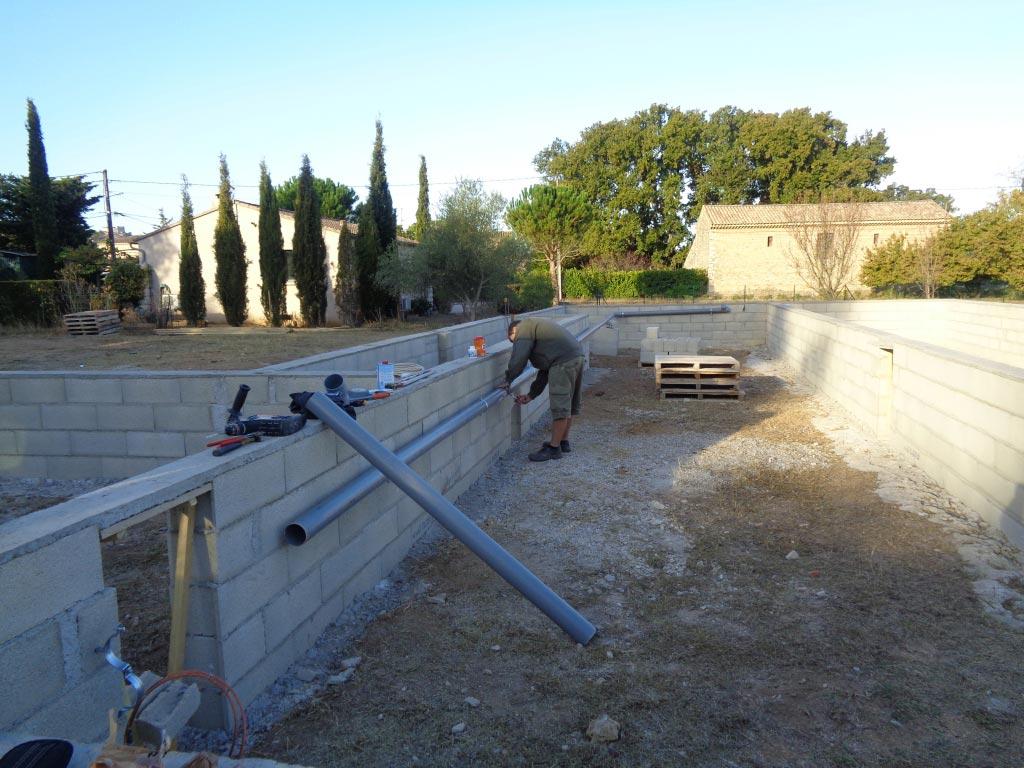 Réseau d'écoulement villa en construction 30 Gard 84 Vaucluse