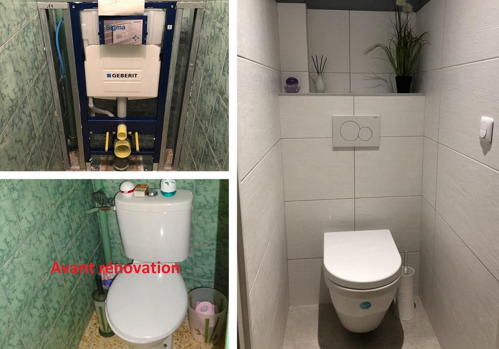Réfection wc classique par wc suspendu