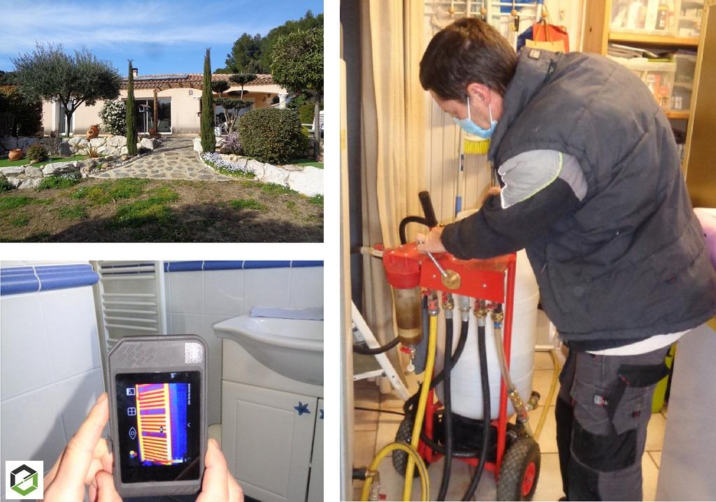 Désmbouage circuits chauffage central par caméra thermique