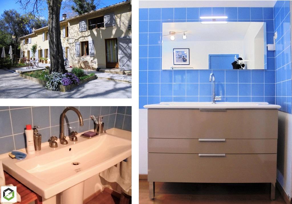 Remplacement d'un lavabo par un meuble vasque Delpha