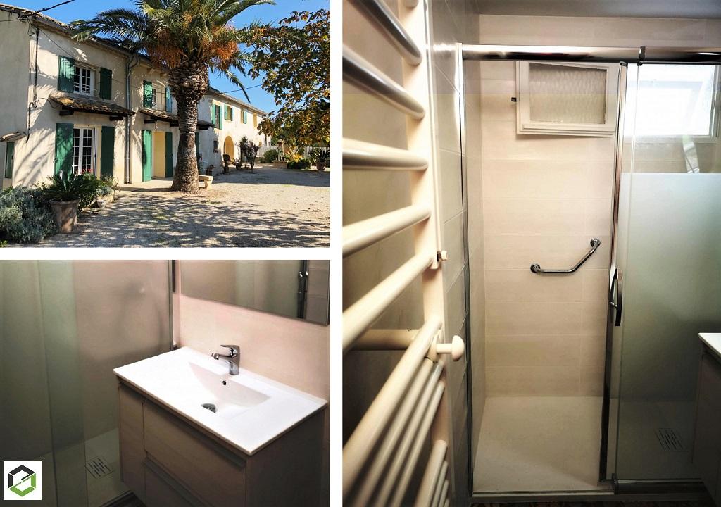 Réfection complète d'une salle de bains avec douche à litalienne