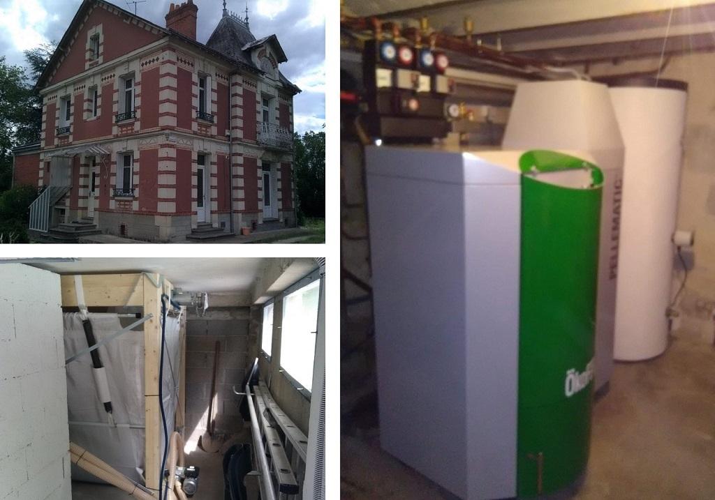 Chaudière à granulés de bois pellets Okofen aspiration 32 Kw  Azay Le Rideau  37 Indre et Loire