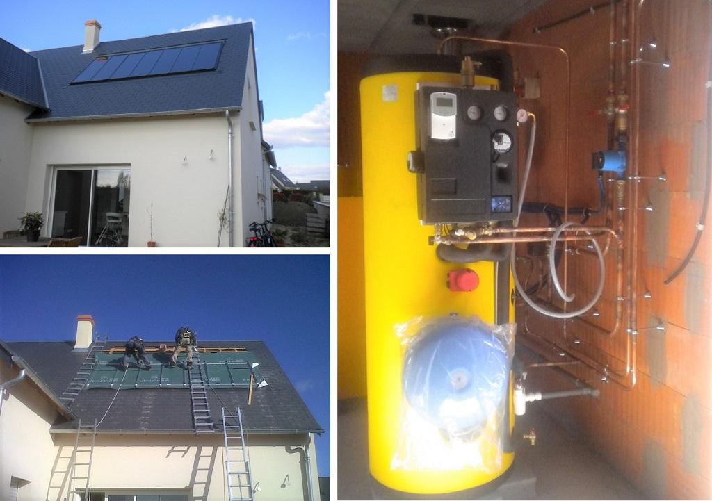 Chauffage solaire  CLIPSOL  en appoint chaudière granulés de bois Saint Antoine Du Rocher    37360  Indre et Loire
