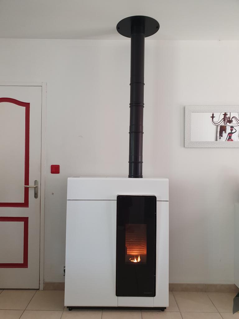 Poêle à granulés de bois Palazzetti  comme appoint à un  Chauffage Principal électrique  Veretz  37 indre et loire