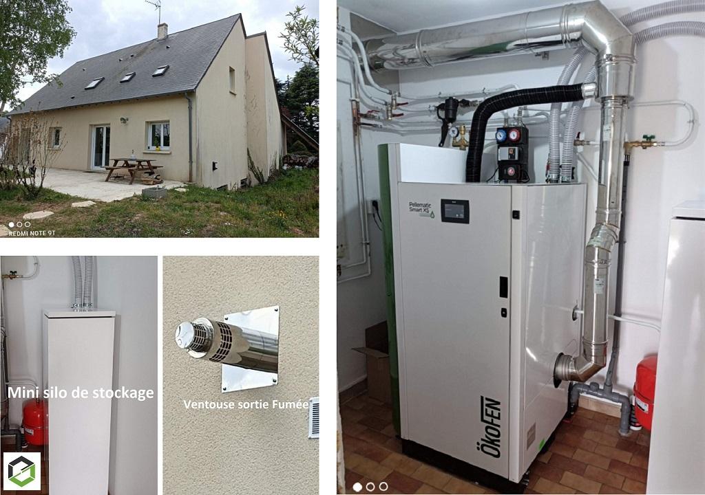 Installation chaudière à granulés de bois pellets Okofen condensation  à aspiration de granulés