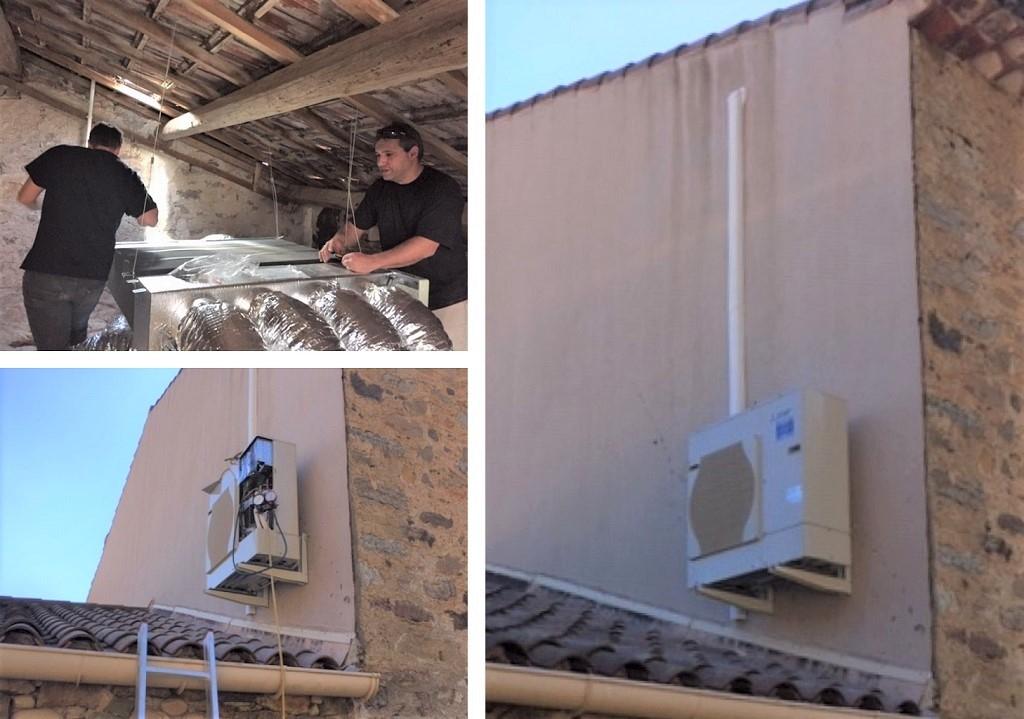 Installation d'un ensemble de chauffage réversible gainable  MITSUBISHI avec  AIRZONE-Hérault (34)