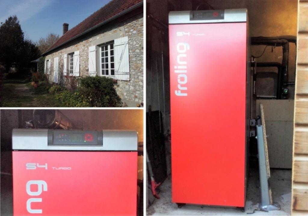 Installation d'une chaudière à bois buches Froling à Orgerue 78 Yvelines. Artisan RGE qualibois