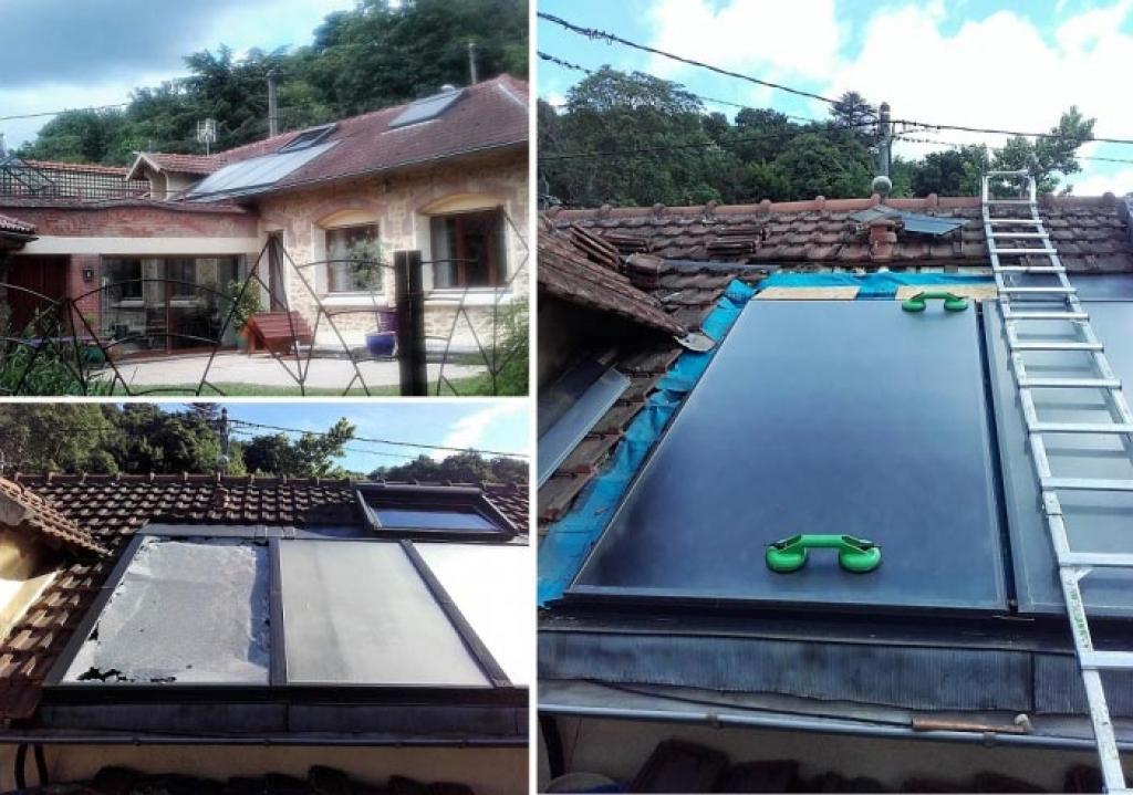 Artisan RGE Qualisol. Réparation d'un chauffe eau solaire à Jouy en josas (78). Remplacement de la vitre d'un panneau.