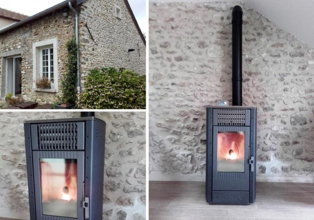 Pose d'un poêle à granulés de bois pellets Hoben à Lommoye 78 Yvelines
