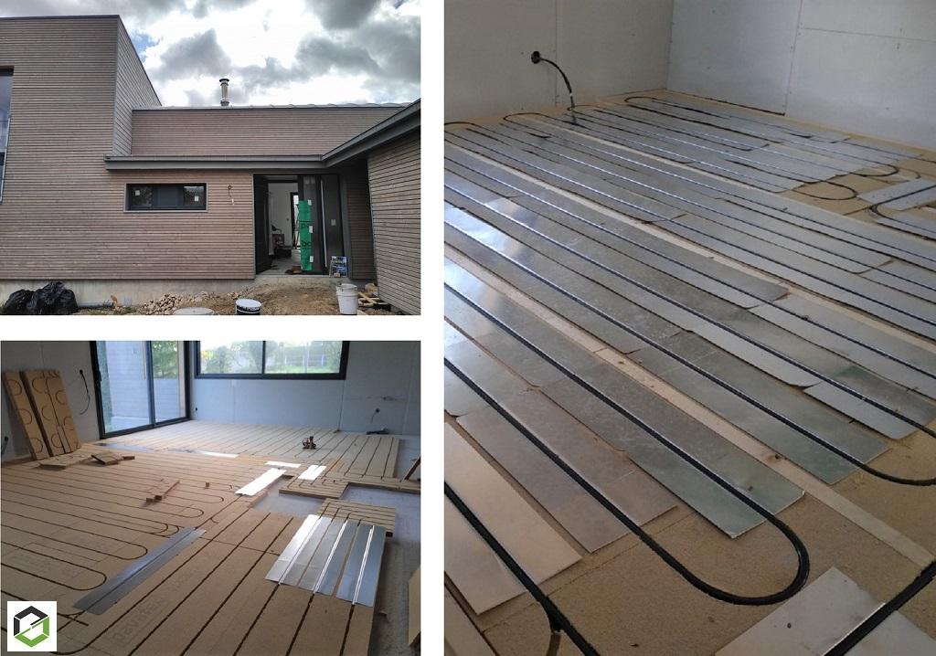 Installation d'un plancher chauffant eau/eau basse température sur fibre de bois