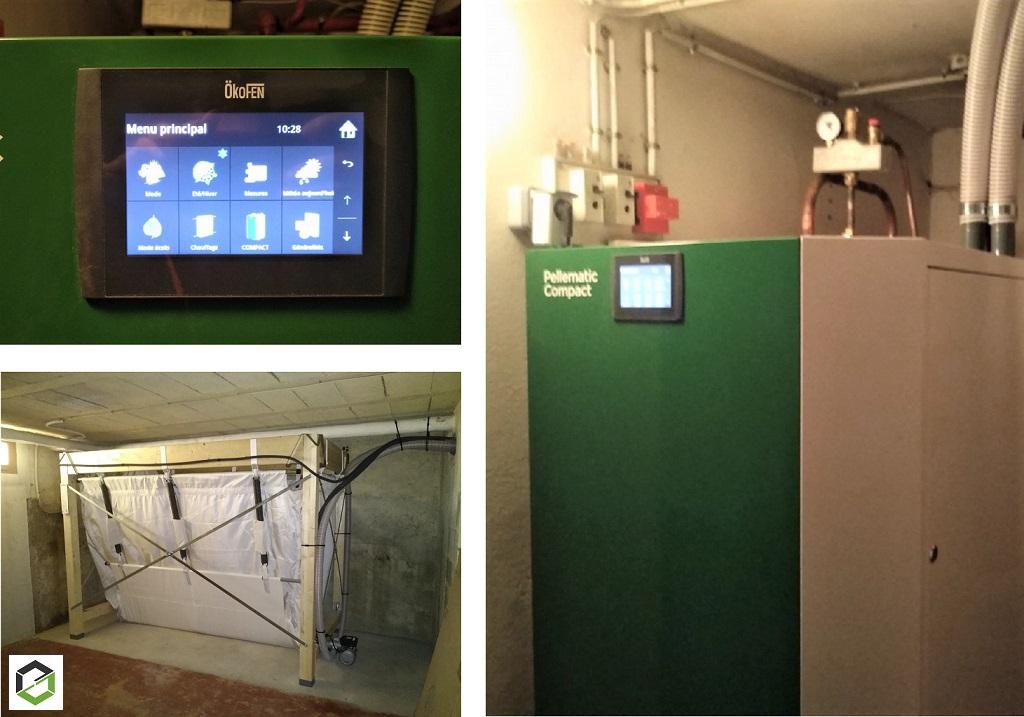 Installation chaudière à granulés de marque Okofen