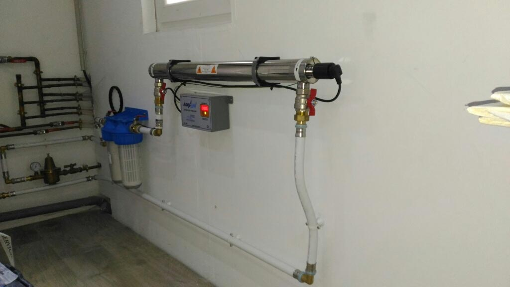 Filtration, traitement, désinfection par UV eau du canal de provence
