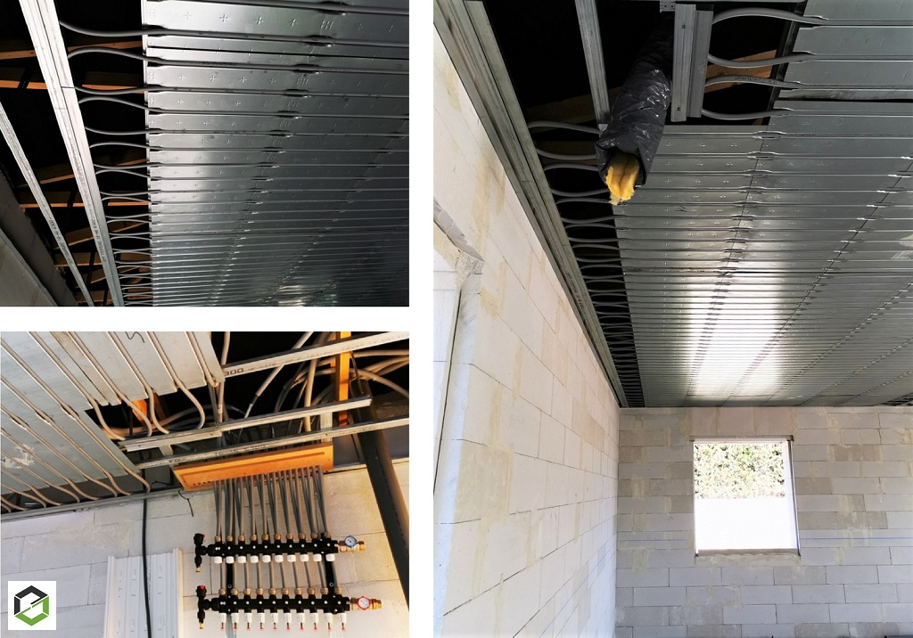 Installation d'un plafond rayonnant chauffant et rafraichissant Innovert