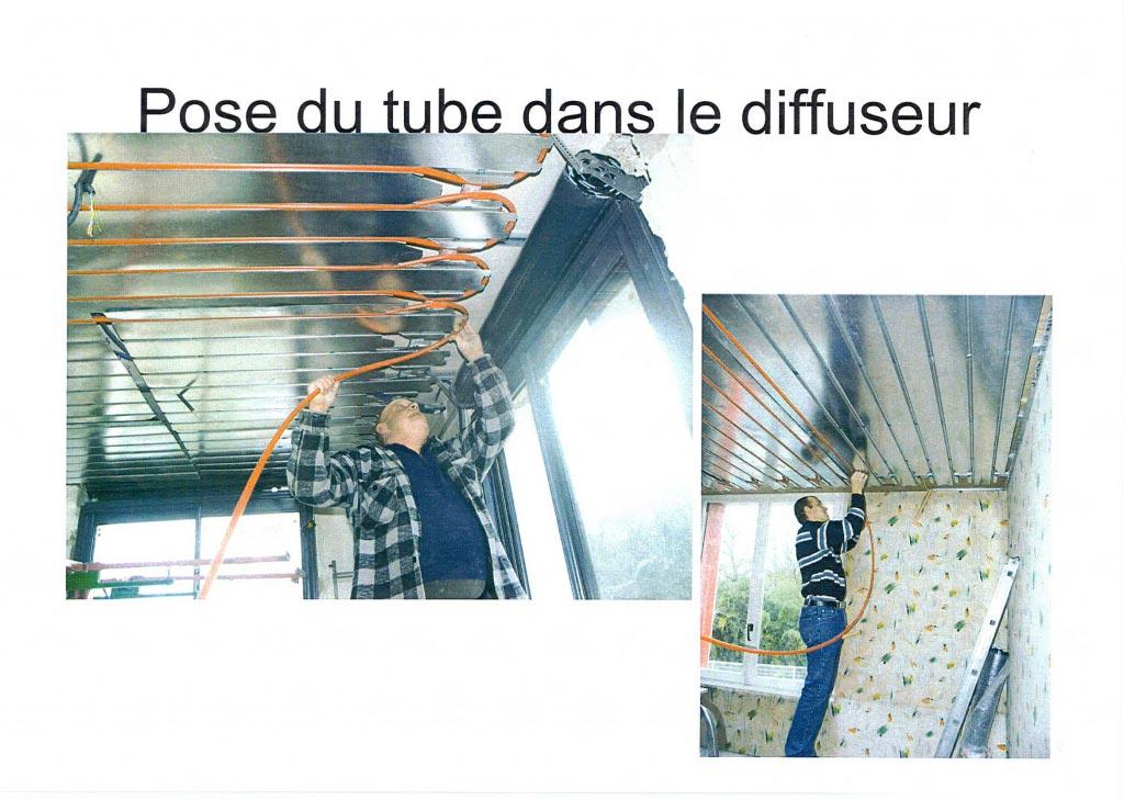 Installation d'un plafond rayonnant chauffant basse température de la marque INNOVERT