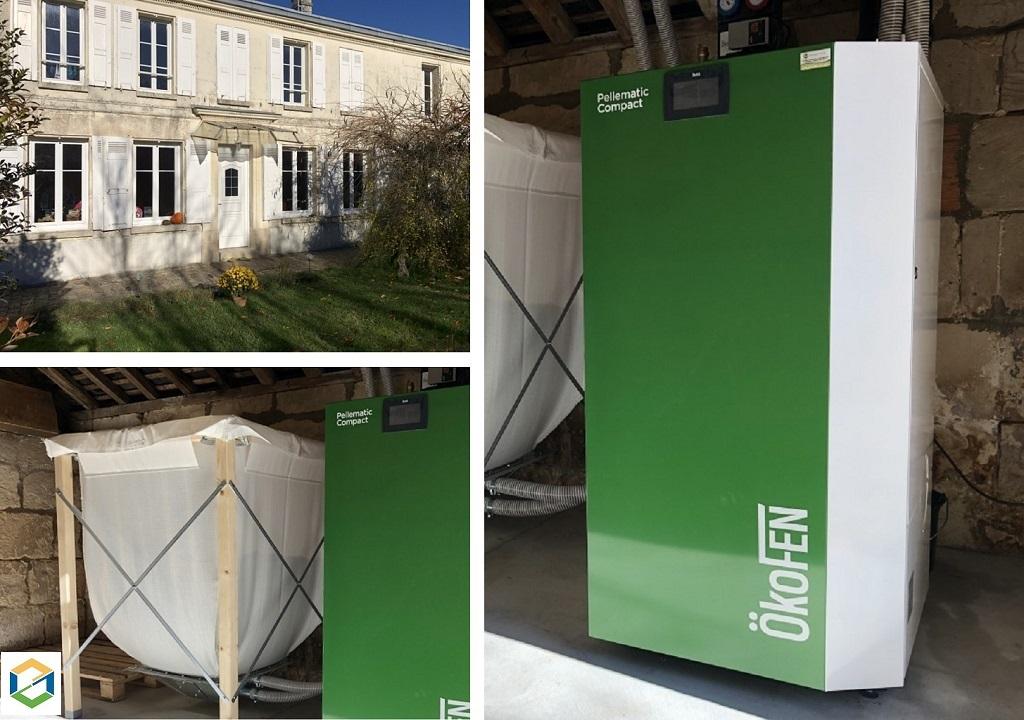 Installation chaudière à granulés de bois automatique de type PELLEMATIC COMPACT et de marque ÖKOFEN - PICARDIE - HAUTS DE FRANCE