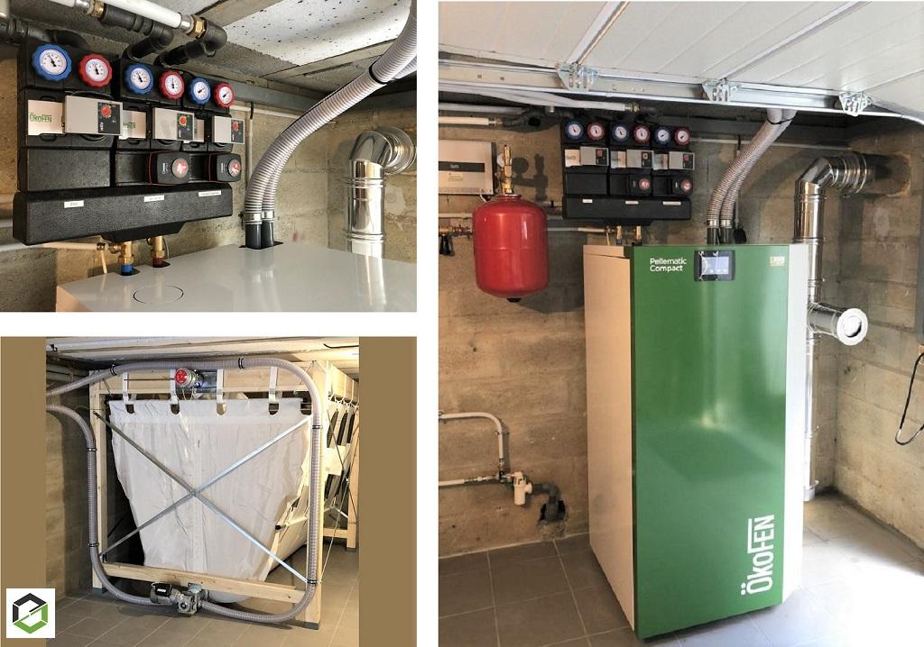 Installation d'une chaudière à granulés de bois automatique de type PELLEMATIC COMPACT et de marque ÖKOFEN - PICARDIE - HAUTS DE FRANCE