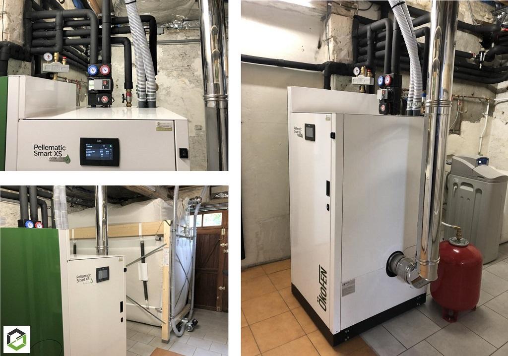 Installation d'une chaudière à condensation biomass individuelle à granulés de bois de type SMART XS de marque ÖKOFEN