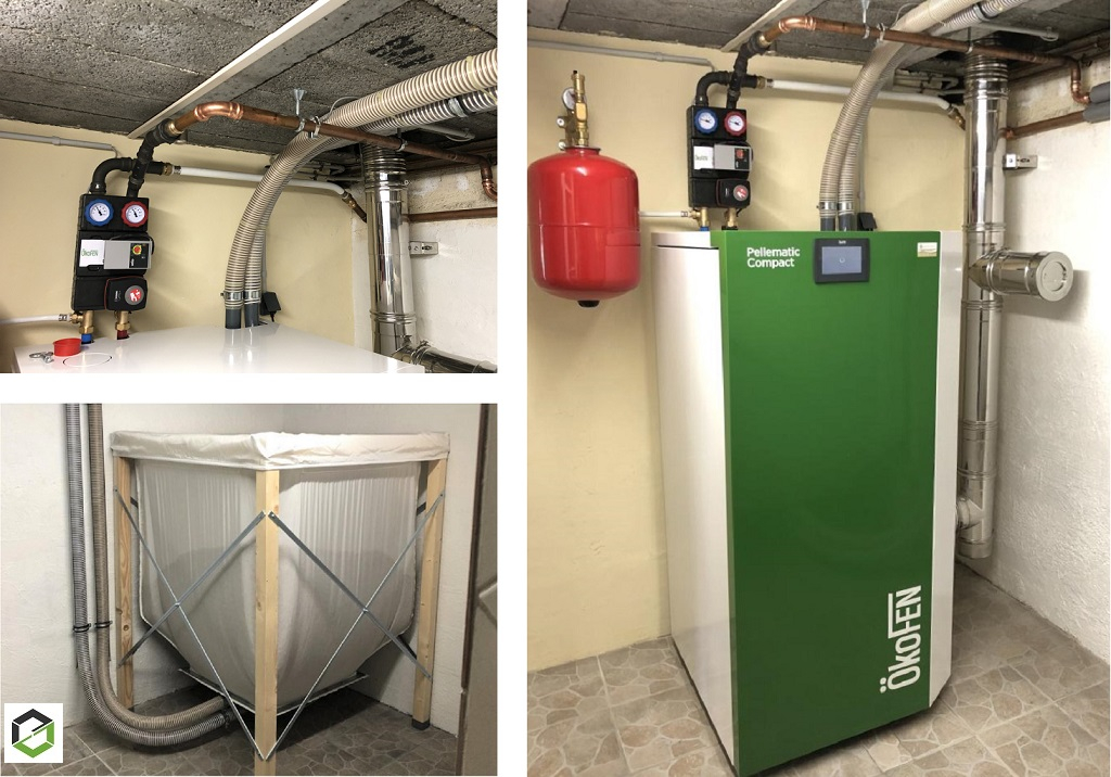 Installation d'une chaudière biomasse individuelle à granulés de bois de type PELLEMATIC COMPACT et de marque ÖKOFEN